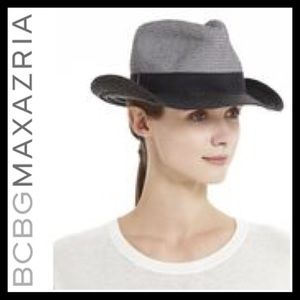 NWOT BCBGMaxAzria Color-Blocked Panama Hat Black